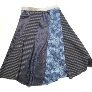 Patchwork Twirl Boho Maxi Blue Skirt
